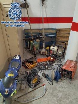 Efectos intervenidos por la Policía Nacional tras ser robados en cortijos de Motril (Granada)