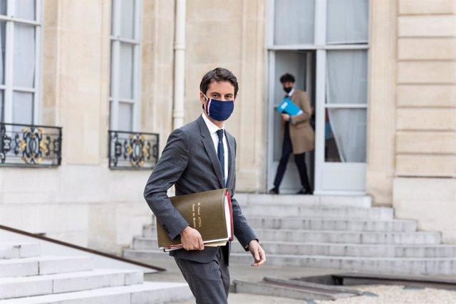 Archivo - El portavoz del Gobierno francés, Gabriel Attal.