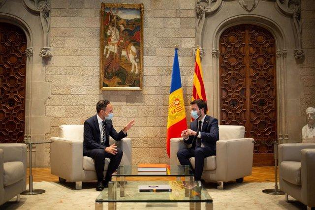 Reunió del cap de govern d'Andorra, Xavier Espot, i el president de la Generalitat, Pere Aragonès.