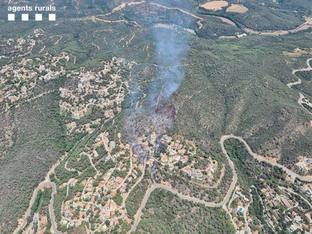 Imatge aèria de l'incendi entre Tossa de Mar i Lloret de Mar