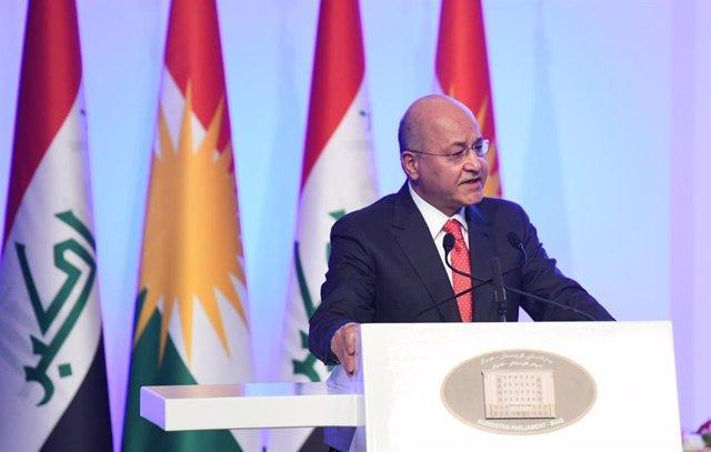 Archivo - El presidente de Irak, Barham Salí