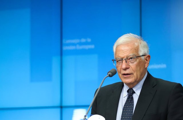 HANDOUT - 12 July 2021, Belgium, Brussels: European Union foreign policy chief Josep Borrell gives a press conference at the end of a meeting of the EU foreign ministers. Photo: Mario Salerno/EU Council /dpa - ATTENTION: editorial use only and only if the