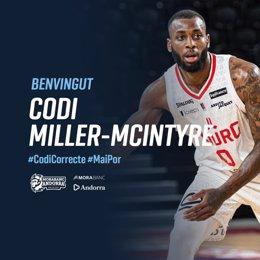 Codi Miller-McIntyre, nuevo jugador del MoraBanc Andorra