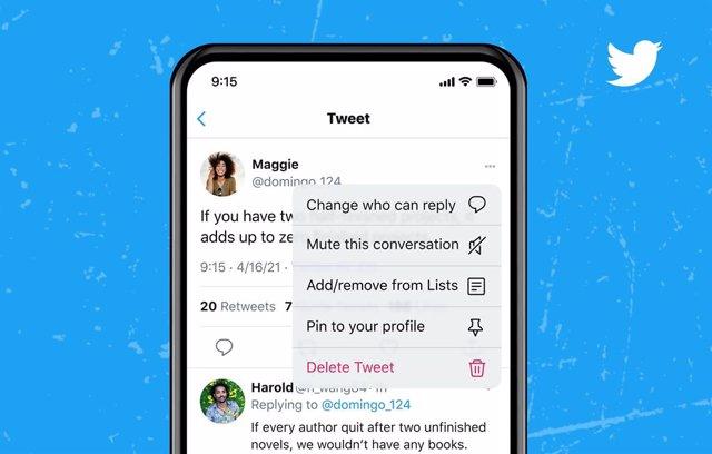 Opción de elegir quién puede responder a un tuit después de publicarlo de Twitter.