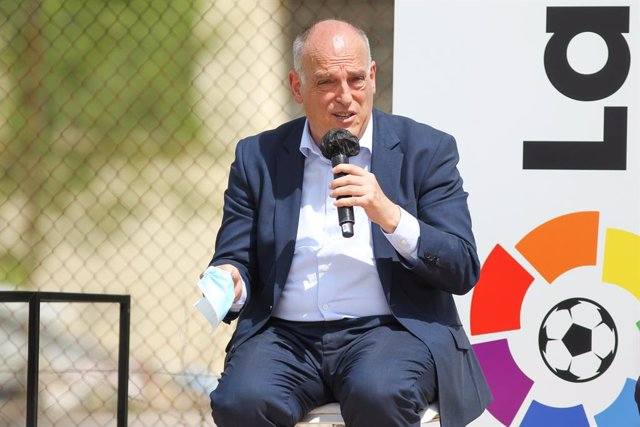 Javier Tebas, President of La Liga during Institutional Presentation of ESC Madrid, the sports and educational center that both professional leagues, La liga and NBA, will share in Villaviciosa de Odon on Jun 15, 2021 in Villaviciosa de Odon, Madrid, Spai