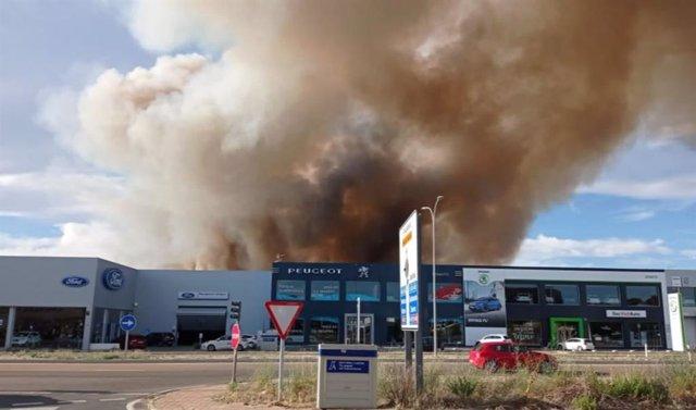 Incendio en un terreno de cereal entre Zaratán y Valladolid que llegó a amenazar algunas naves industriales.