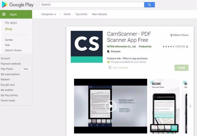 Aplicación CamScanner en Google Play.
