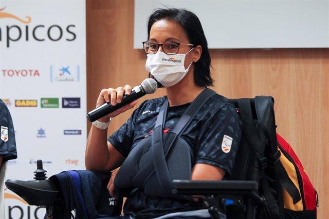 La nadadora Teresa Perales interviene en el acto de presentación del equipo paralímpico que competirá en Tokyo 2020