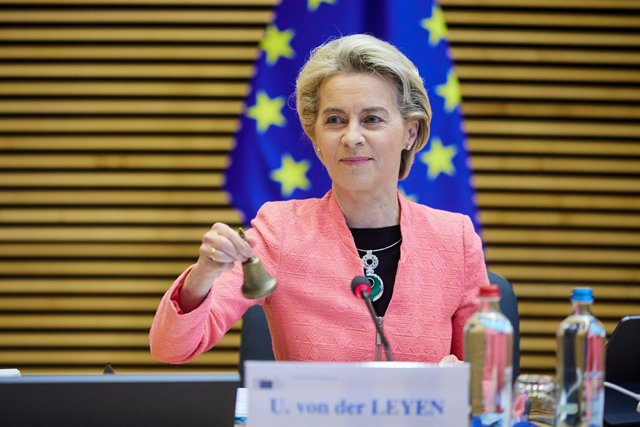 HANDOUT - 14 July 2021, Belgium, Brussels: President of the European Commission Ursula von der Leyen announces the start of the weekly meeting of the Commission. Photo: Claudio Centonze/European Commission/dpa - ATTENTION: editorial use only and only if t
