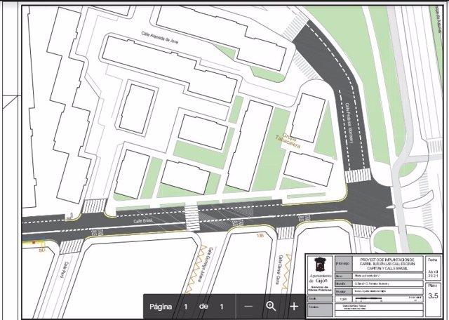 Archivo - Plano de la implantación de carril bus en las calles Gran Capitán y Brasil, en Gijón