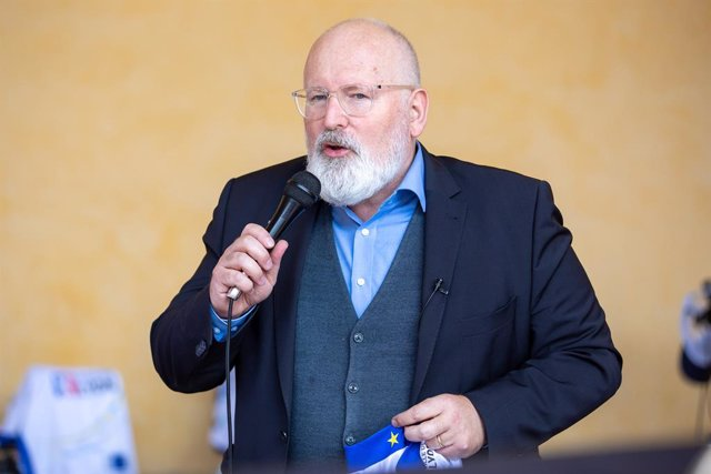 HANDOUT - 16 June 2021, Belgium, Brussels: European Commission Vice-President Frans Timmermans speaks during the official start of the Sun Trip Europe cycling race for bicycles powered by solar energy in front of European Commission headquarters in Brusse