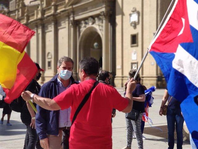 Daniel Pérez Calvo ha participado en la concentración para reclamar la libertad del pueblo cubano