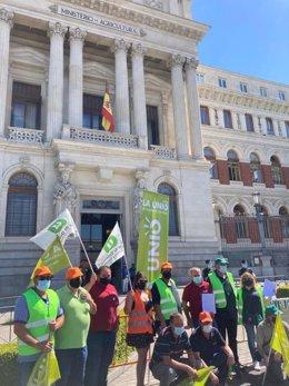 Agricultores de La Unió se concentran en Madrid ante el Ministerio de Agricultura para reclamar un futuro digno para el campo valenciano