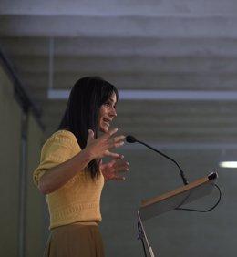 La vicealcaldesa de Madrid, Begoña Villacís, explica las propuestas en las que se basa el avance de la modificación de las normas urbanísticas, en el Auditorio Planta Jardín del Colegio Oficial de Arquitectos de Madrid, a 13 de julio de 2021, en Madrid (E