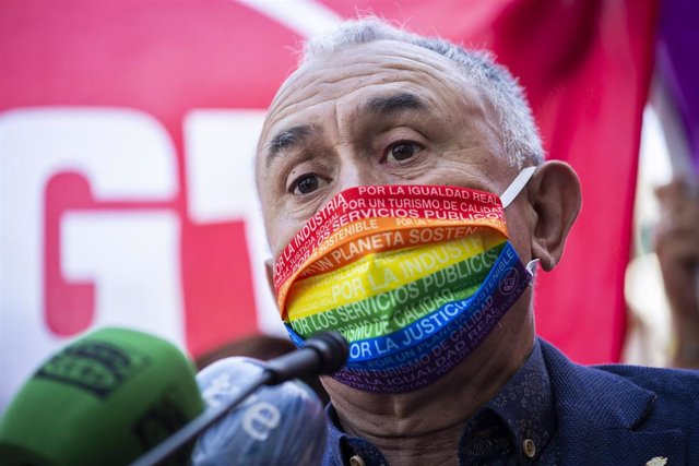 El secretario general de UGT, Pepe Álvarez, durante una concentración por la subida del Salario Mínimo Interprofesional (SMI)