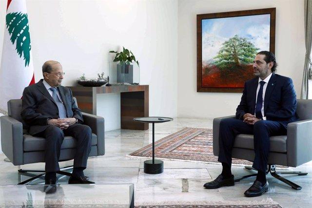 El presidente libanés, Michel Aoun, y el primer ministro encargado de Líbano, Saad Hariri