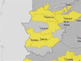 Archivo - Mapa de avisos por riesgo de altas temperaturas en Extremadura este viernes.