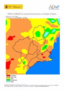 Mapa que refleja el nivel de riesgo de incendios forestales