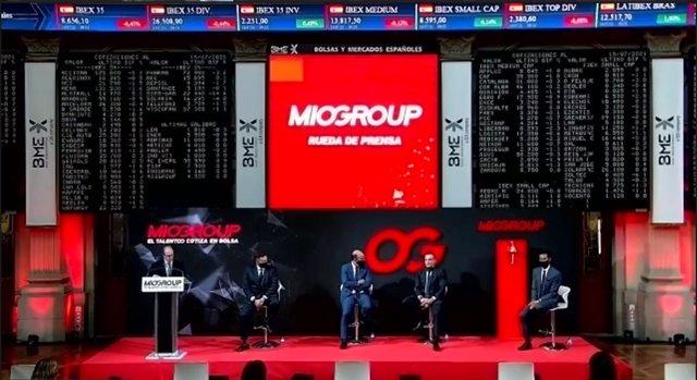 Rueda de prensa previa al toque de campana de Miogroup, la consultora de los hermanos Arbeloa, que comenzará este miércoles 15 de julio a cotizar en el BME Growth, el antiguo Mercado Alternativo Bursátil.