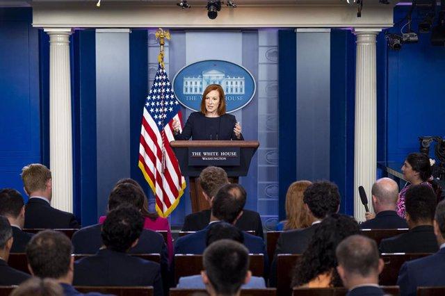 Arxiu - Jen Psaki durant una conferència de premsa