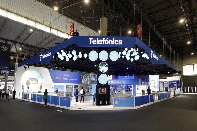 Imagen del expositor de Telefónica en el Mobile World Congress 21.