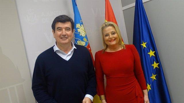 El portavoz de Ciudadanos en el Ayuntamiento de València, Fernando Giner, y la edil Amparo Picó