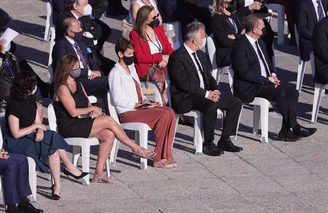 La presidenta del Gobierno de Navarra, María Chivite, en el homenaje de Estado a las víctimas del Covid-19 celebrado en Madrid.