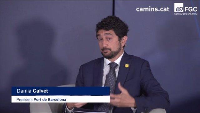 El president del Port de Barcelona, Damià Calvet, en una sessió telemàtica