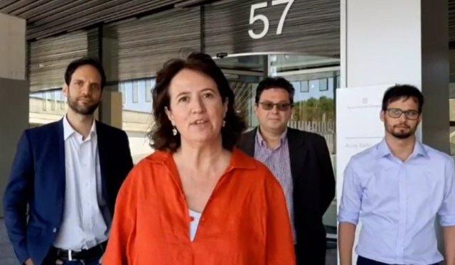 La presidenta de l'ANC, Elisenda Paluzie, i els secretaris nacionals de l'entitat Arnau Padró, Aleix Andreu i Adrià Alsina, en el vídeo