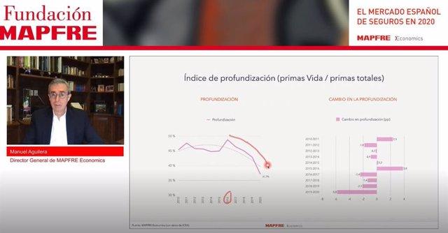 El director general de Mapfre Economics, Manuel Aguilera, durante la presentación del informe 'El mercado español de seguros en 2020'