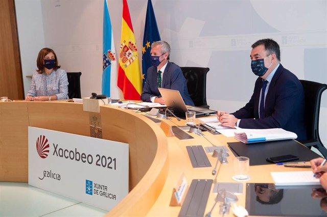 El vicepresidente primero de la Xunta, Alfonso Rueda, preside la reunión del Consello de la Xunta