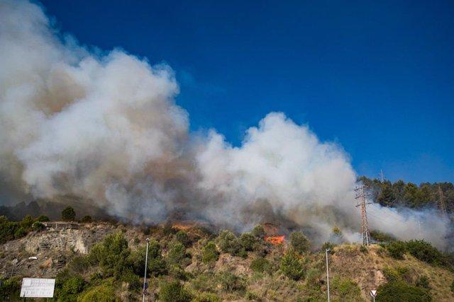 Imatge d'arxiu de l'incendi de Castellví de Rosanes i Martorell (Barcelona)