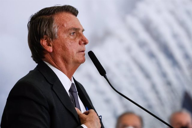 HANDOUT - 13 July 2021, Brazil, Brasilia: Brazilian President Jair Bolsonaro speaks during an event held at the Planalto Palace. Photo: Alan Santos/Planalto Palace/dpa - ATTENTION: editorial use only and only if the credit mentioned above is referenced in