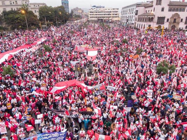 Manifestaciones en apoyo a la candidata de Fuerza Popular, Keiko Fujimori