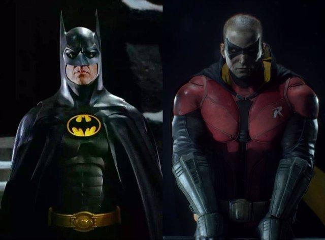 Michael Keaton como Batman y el Robin de la saga de videojuegos Arkham