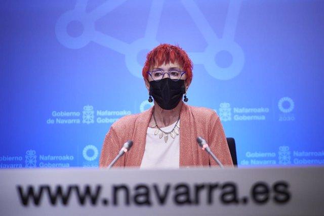 La consejera de Salud, Santos Indurain, interviene en una rueda de prensa para analizar la situación epidemiológica en Navarra, a 5 de julio de 2021, en Pamplona, Navarra, (España). Según las últimas actualizaciones, los casos de coronavirus en Navarra ha