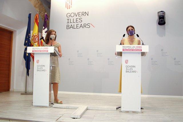 La presidenta de las Illes Balears, Francina Armengol, y la ministra de Igualdad, Irene Montero, comparecen en el Consolat de Mar.