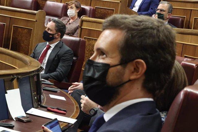Archivo - El presidente del PP, Pablo Casado, durante el pleno en el que se debate la moción de censura planteada por Vox, en el Congreso de los Diputados, Madrid (España), a 21 de octubre de 2020.