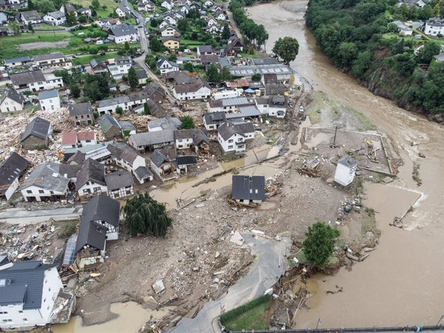 15 July 2021, Rhineland-Palatinate, Schuld: A general view of the destruction caused buy flooding at a village in the district of Ahrweiler after heavy downpours that engulfed parts of western Germany. Photo: Boris Roessler/dpa