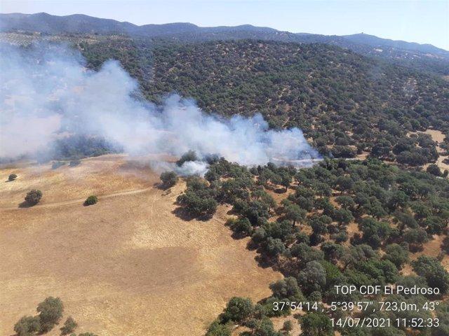 Incendio declarado en Cazalla de la Sierra