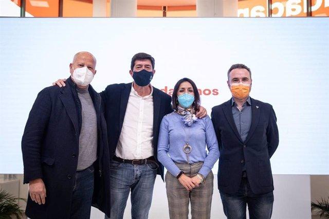 Archivo - Javier Imbroda, Juan Marín, Marta Bosquet y Guillermo Díaz, la representación andaluza que ha participado este lunes en el Comité Ejecutivo de Cs en Madrid. (Foto de archivo).