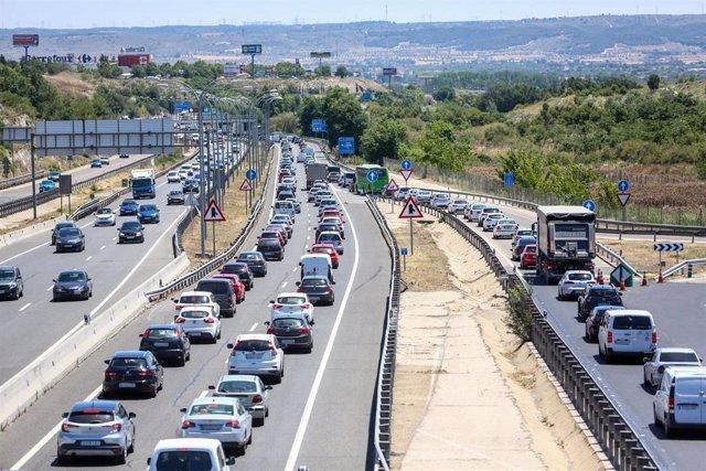 Imagen de recurso de congestión en la A-3 a su salida de Madrid.