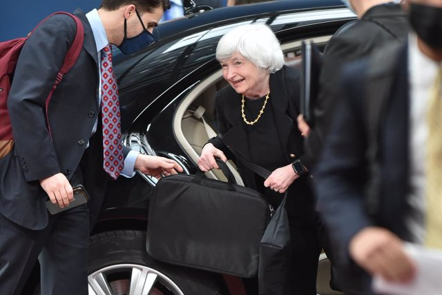HANDOUT - 12 July 2021, Belgium, Brussels: Janet Yellen, United States Secretary of the Treasury, arrives for a meeting of the Finance Ministers of the Eurogroup. Photo: Gaetan Claessens/EU Council /dpa - ATTENTION: editorial use only and only if the cred