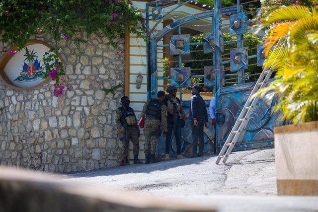 Entrada de la residencia del presidente de Haití, Jovenel Moise
