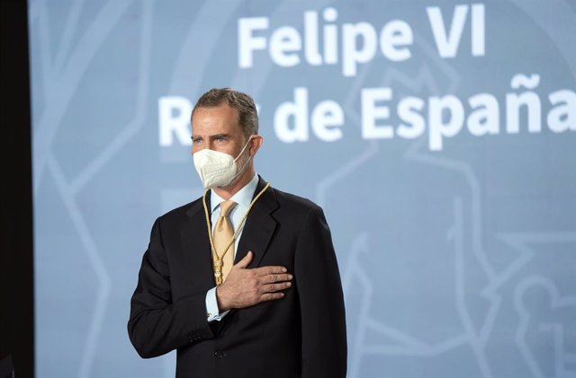 Archivo - El Rey Felipe VI, agradece la entrega de la  Medalla de Honor de Andalucía, a 14 de junio del 2021 en el Palacio de San Telmo de Sevilla, Andalucía. España