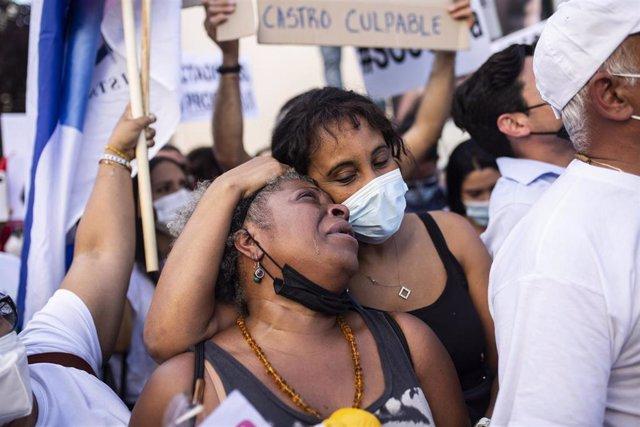 Concentración en Madrid contra el Gobierno del presidente cubano Miguel Díaz-Canel