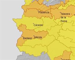 Archivo - Mapa de avisos por altas temperaturas en Extremadura.