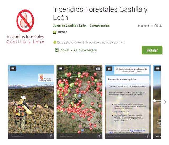 Aplicación móvil gratuita de incendios forestales.