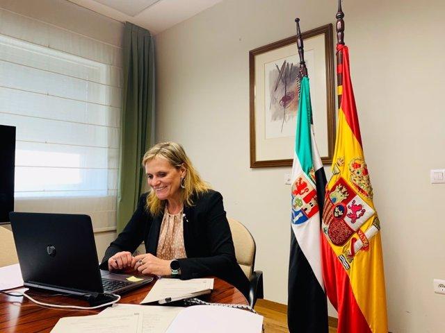 Archivo - La delegada del Gobierno, Yolanda García seco, en la videoconferencia