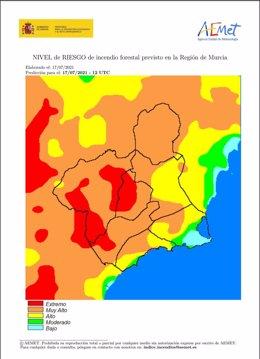 Mapa que muestra el nivel de riesgo de incendio en la Región de Murcia por zonas